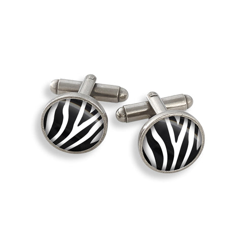 Pewter Cufflink Set featuring the Zoolander Black & White Zebra