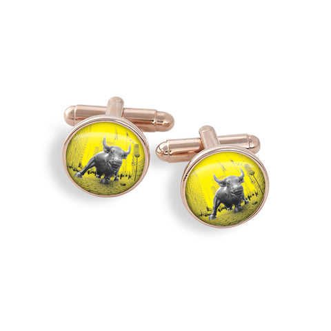 Rose Gold Cufflink Set featuring the Yellow Belly Charging Bull