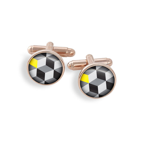 Rose Gold Cufflink Set featuring In Living Color Black, White & Yellow Geometrics