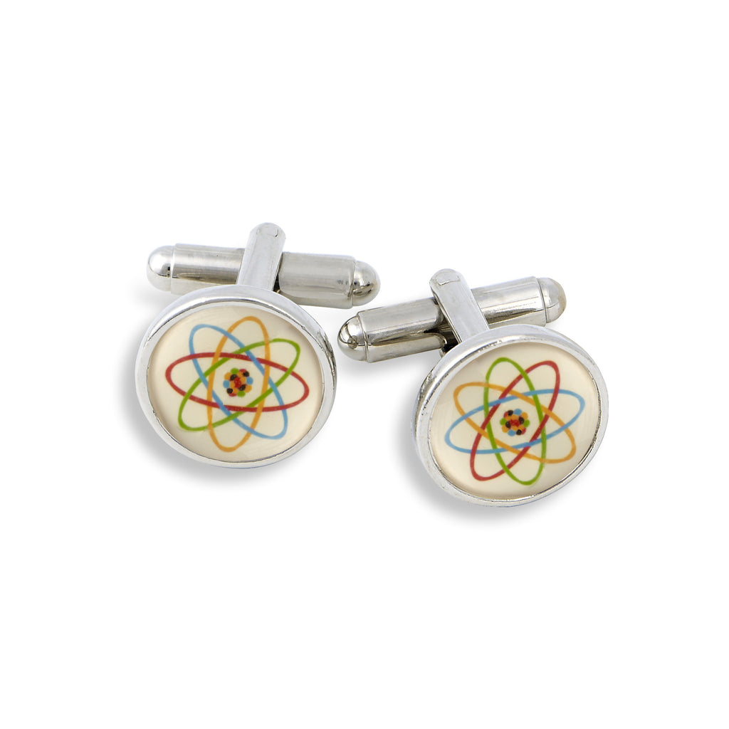 SilverTone Cufflink Set featuring the Atom