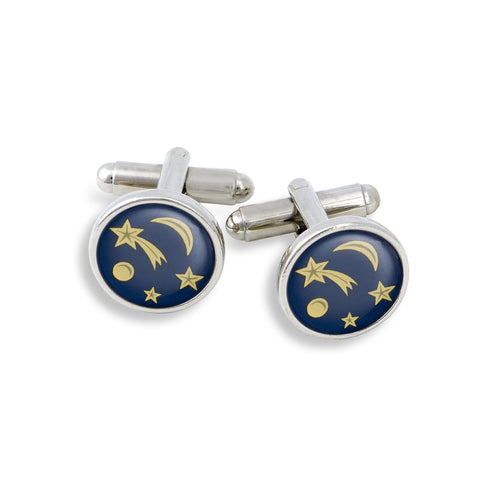 SilverTone Cufflink Set featuring Shooting Stars