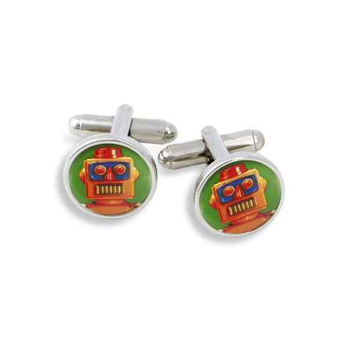 SilverTone Cufflink Set featuring the Dark Green Robot
