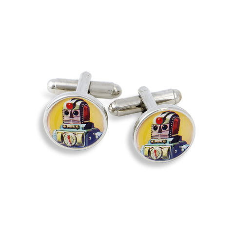 SilverTone Cufflink Set featuring the Yellow Robot