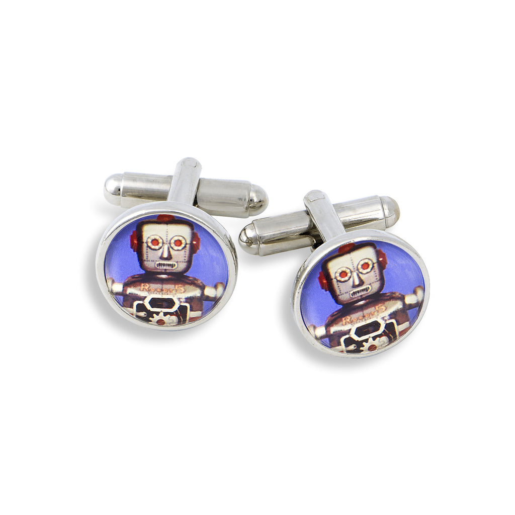 SilverTone Cufflink Set featuring the Dark Purple Robot