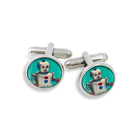 SilverTone Cufflink Set featuring the Teal Robot