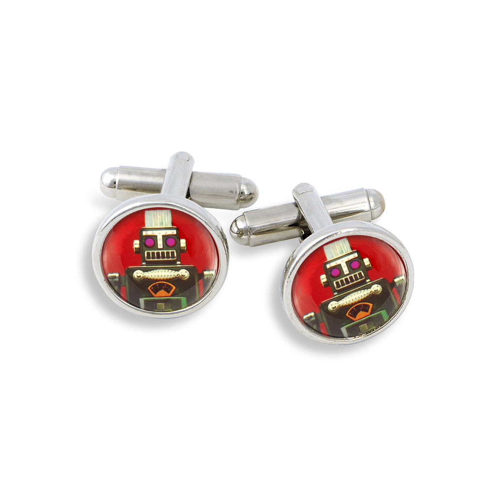 SilverTone Cufflink Set featuring the Red Robot