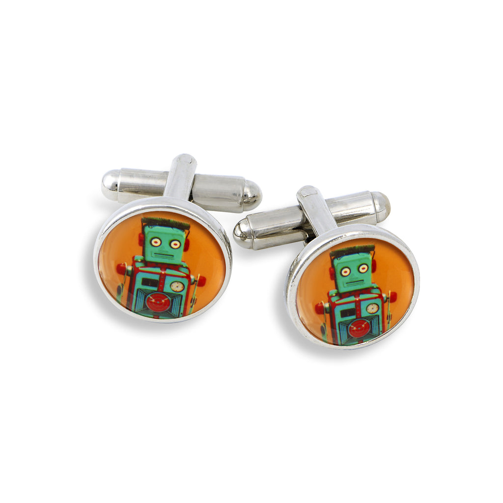 SilverTone Cufflink Set featuring the Orange Robot