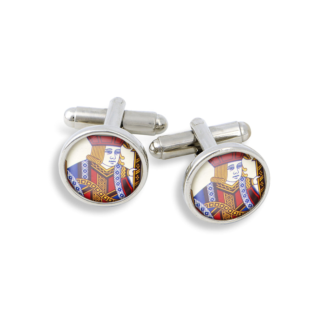 SilverTone Cufflink Set featuring the Poker Jack