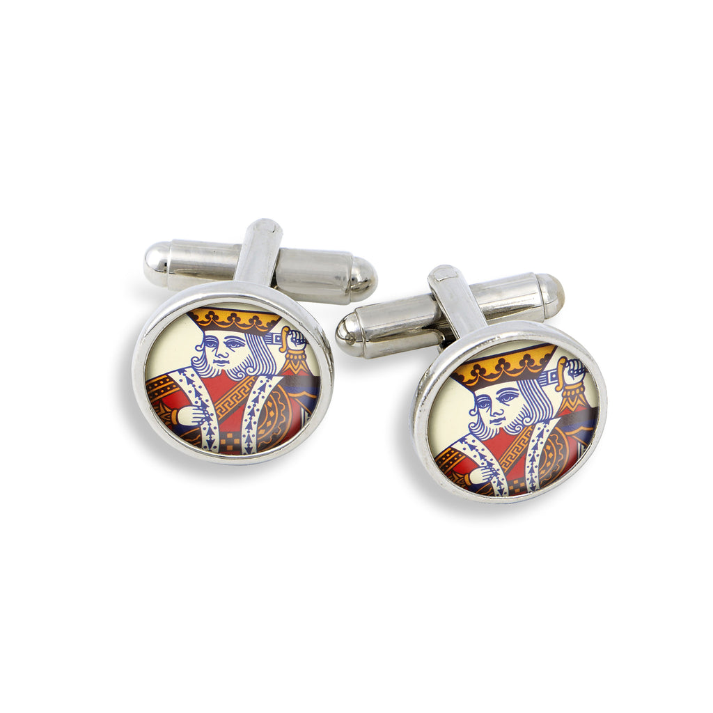 SilverTone Cufflink Set featuring the Poker King