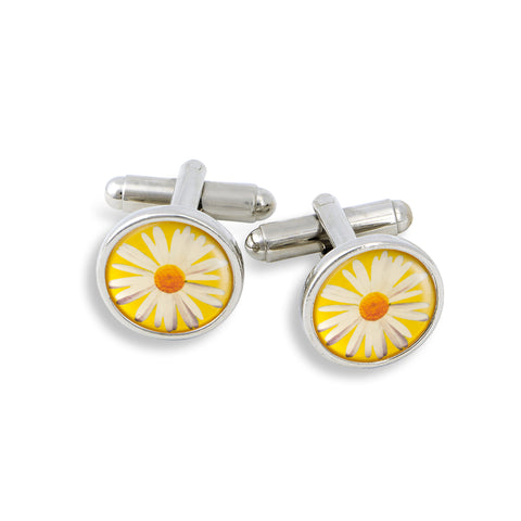 SilverTone Cufflink Set featuring the Daisy with Yellow Background
