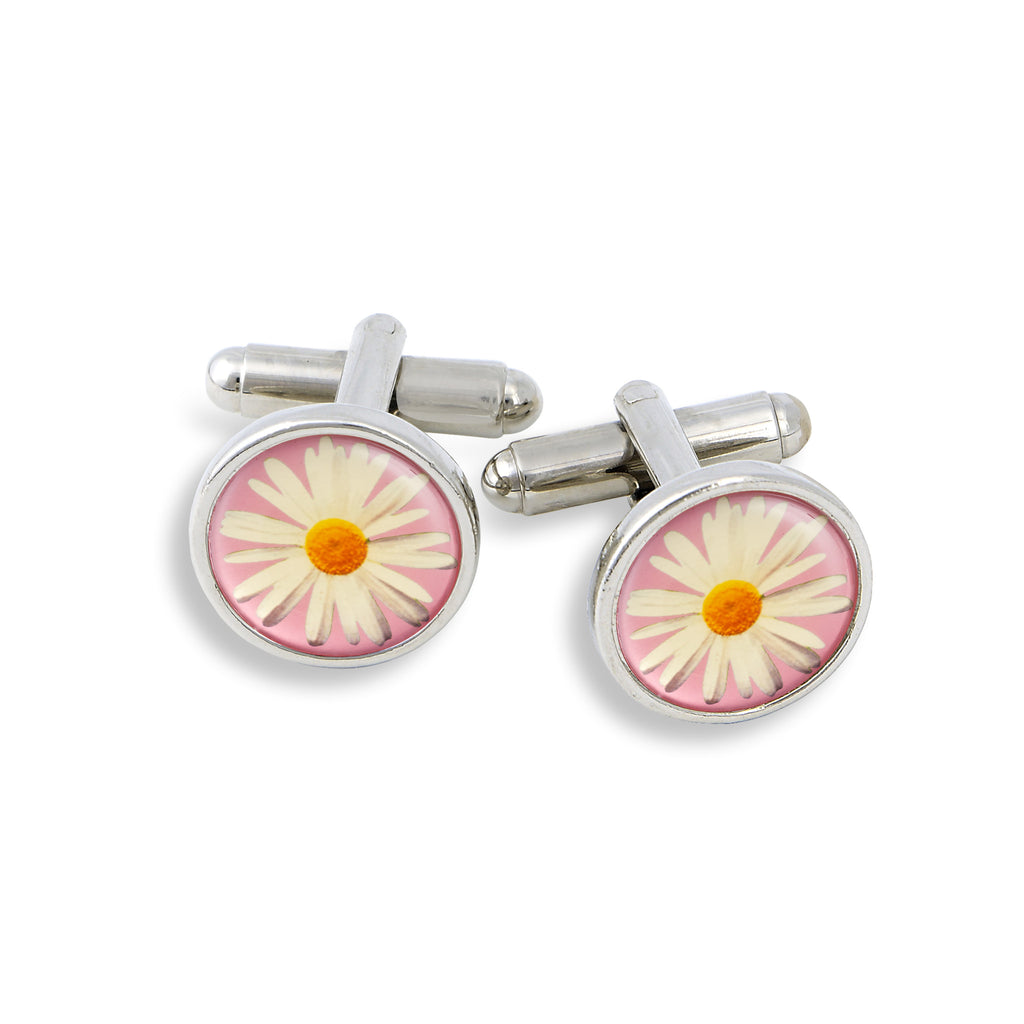 SilverTone Cufflink Set featuring the Daisy with Pink Background