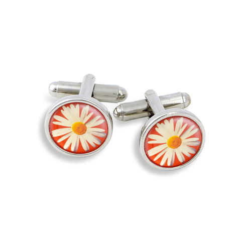 SilverTone Cufflink Set featuring the Daisy with Red Background