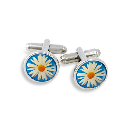 SilverTone Cufflink Set featuring the Daisy with Blue Background