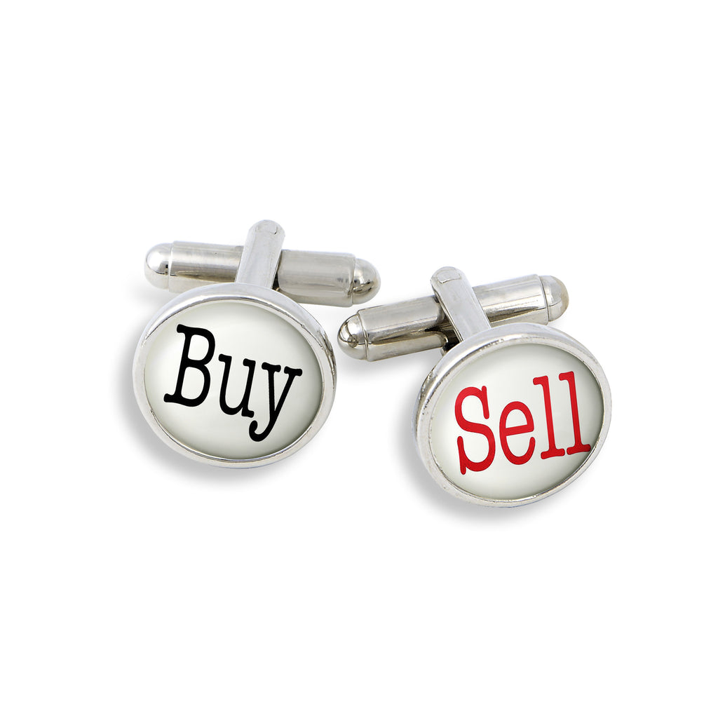 SilverTone Cufflink Set featuring Buy & Sell