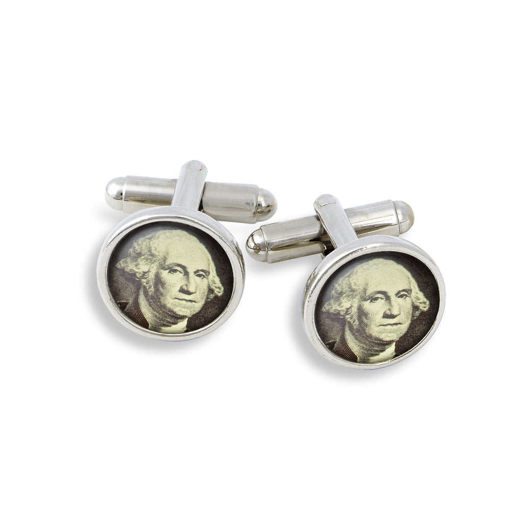 SilverTone Cufflink Set featuring the Dollar George
