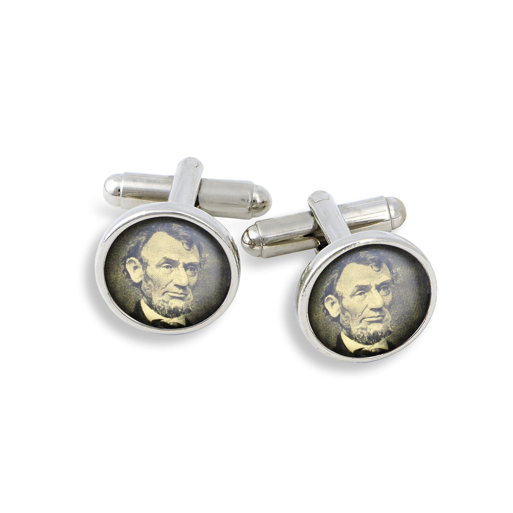 SilverTone Cufflink Set featuring the Dollar Abe