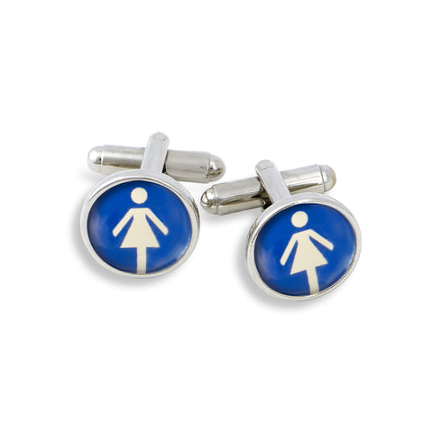 SilverTone Cufflink Set featuring the Women International Symbol Signs