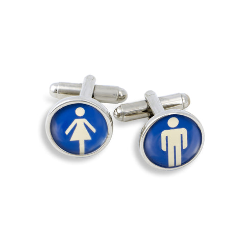 SilverTone Cufflink Set featuring the Women & Men International Symbol Signs