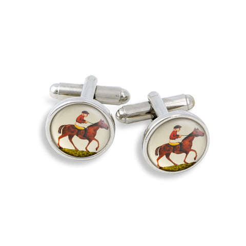 SilverTone Cufflink Set featuring the Horse & Jockey