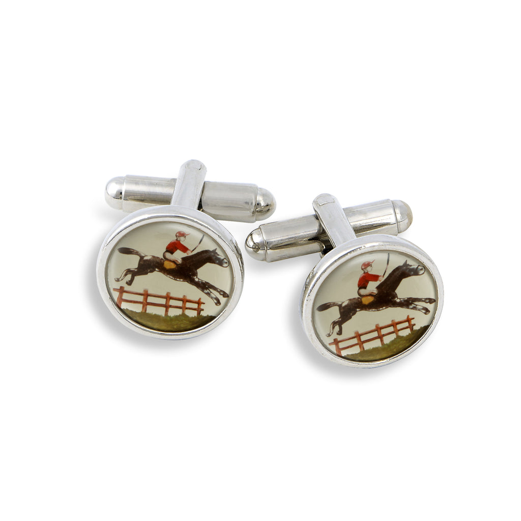 SilverTone Cufflink Set featuring the Jockey & Jumping Horse