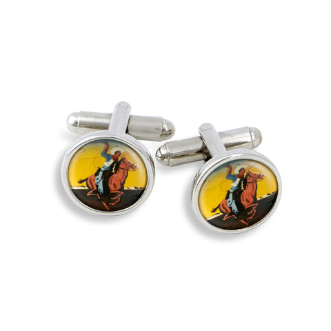 SilverTone Cufflink Set featuring the Bucking Horse & Lasso Cowboy