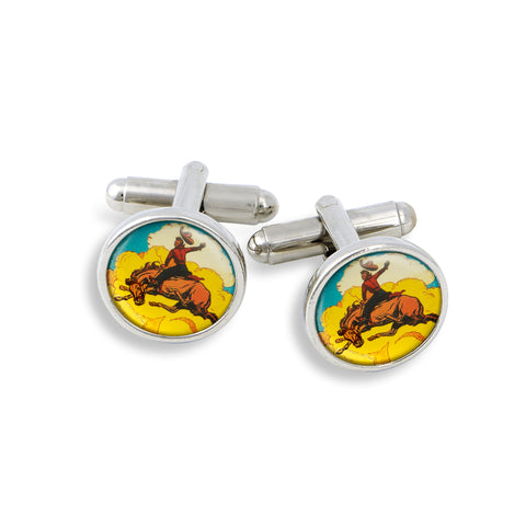 SilverTone Cufflink Set featuring the Bucking Horse & Riding Cowboy