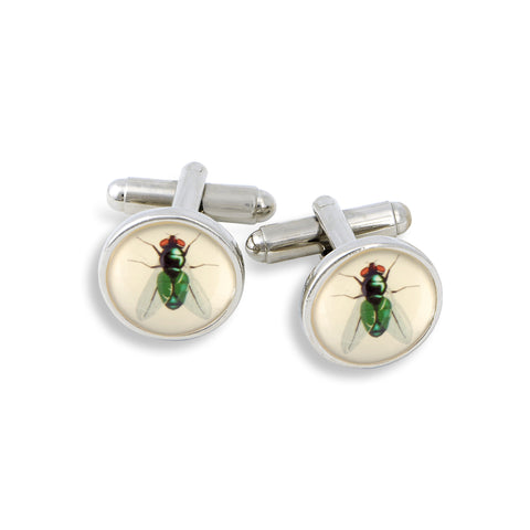 SilverTone Cufflink Set featuring the Fly