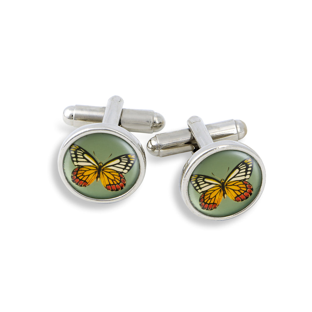 SilverTone Cufflink Set featuring the Butterfly