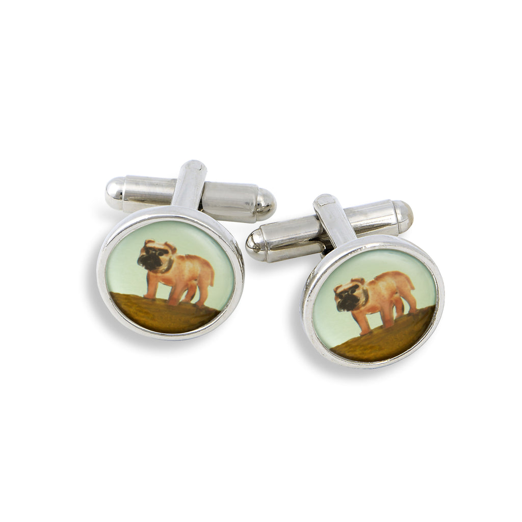 SilverTone Cufflink Set featuring the Painted Pug