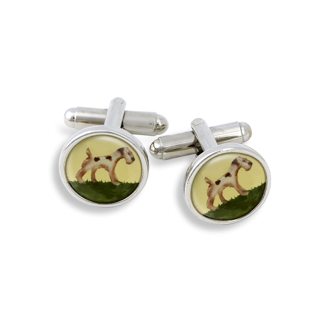 SilverTone Cufflink Set featuring the Painted Wirefox Terrier