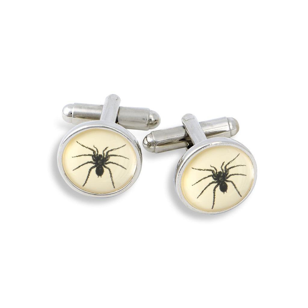 SilverTone Cufflink Set featuring the Black Ant
