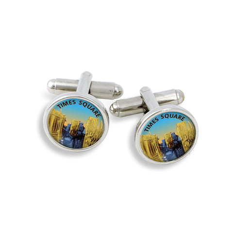 SilverTone Cufflink Set featuring Times Square