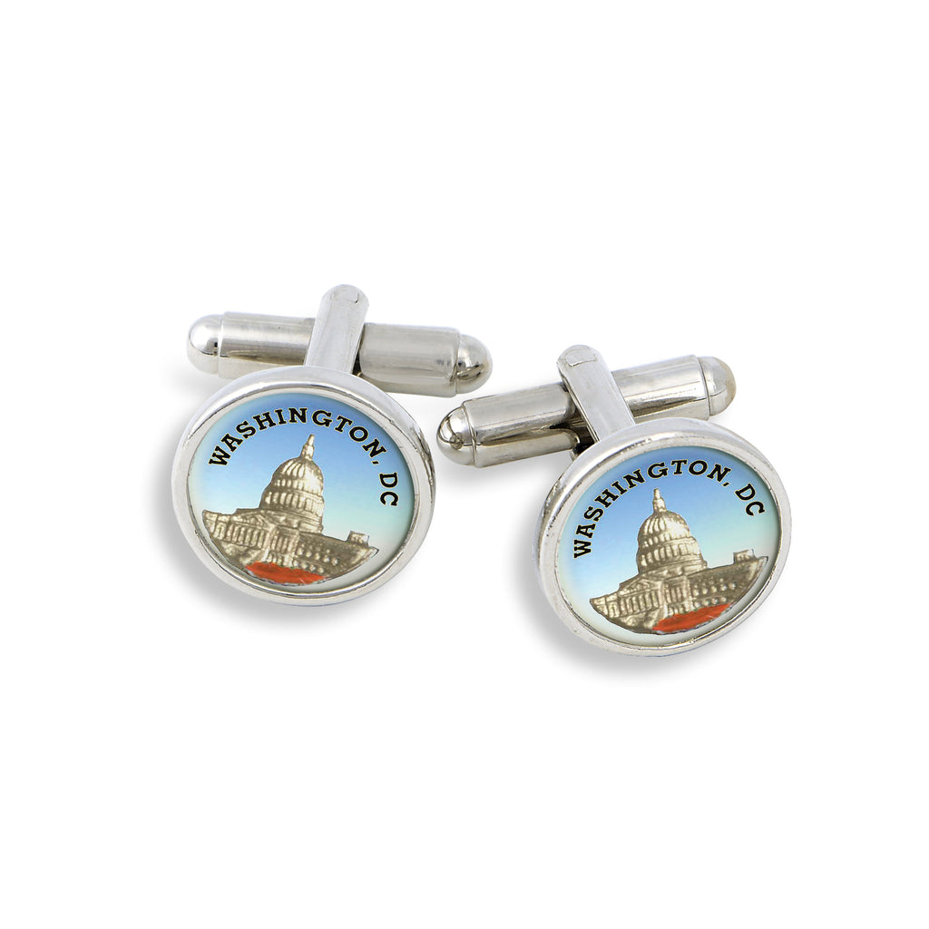 SilverTone Cufflink Set featuring the Washington D.C. Capitol Building