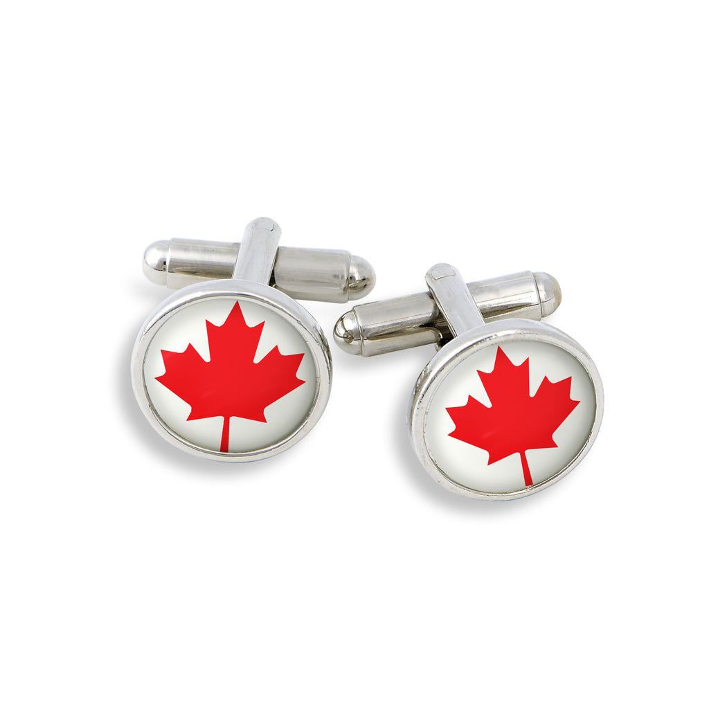 SilverTone Cufflink Set featuring the Canada Maple Leaf