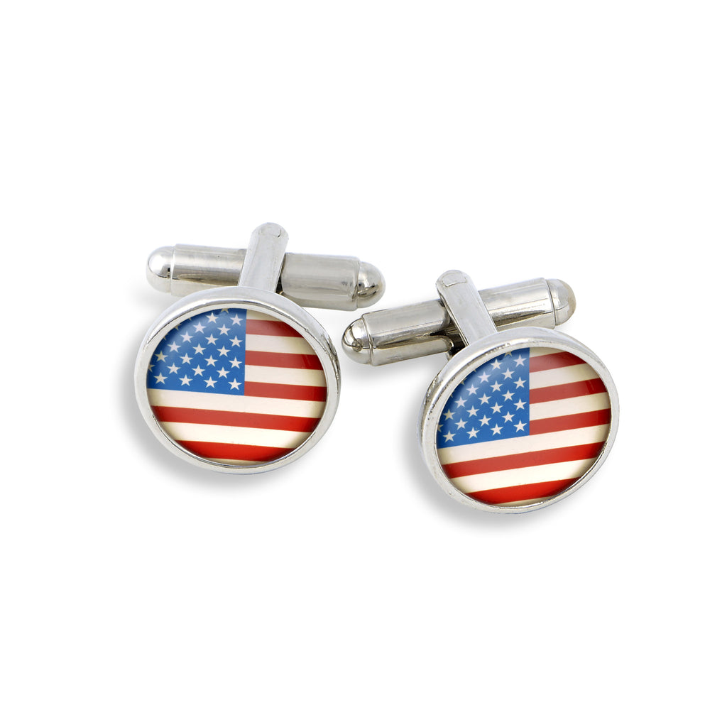 SilverTone Cufflink Set featuring the American Flag