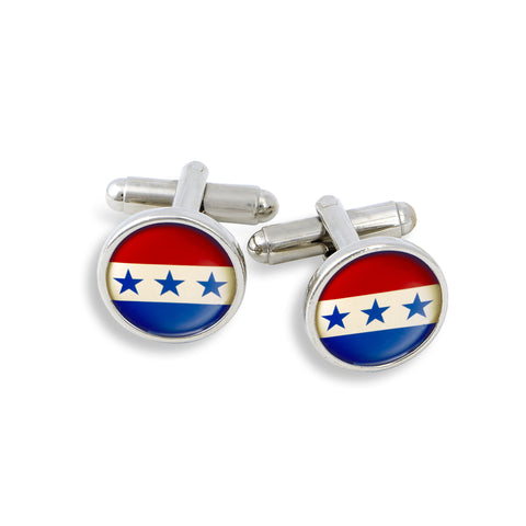 SilverTone Cufflink Set featuring the USO Stars & Stripes