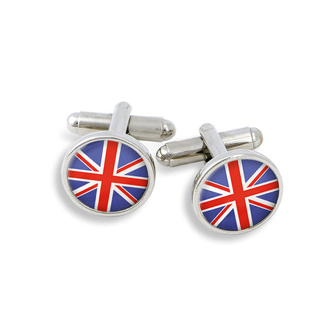 SilverTone Cufflink Set featuring the Union Jack