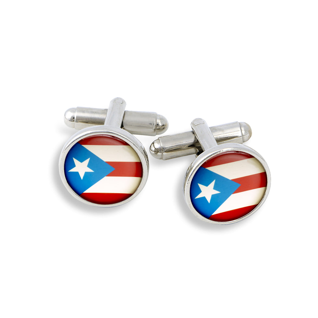 SilverTone Cufflink Set featuring the Puerto Rico Flag