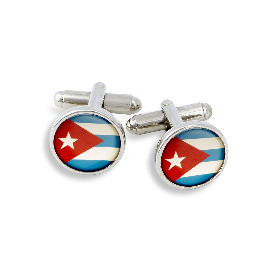 SilverTone Cufflink Set featuring the Cuba Flag