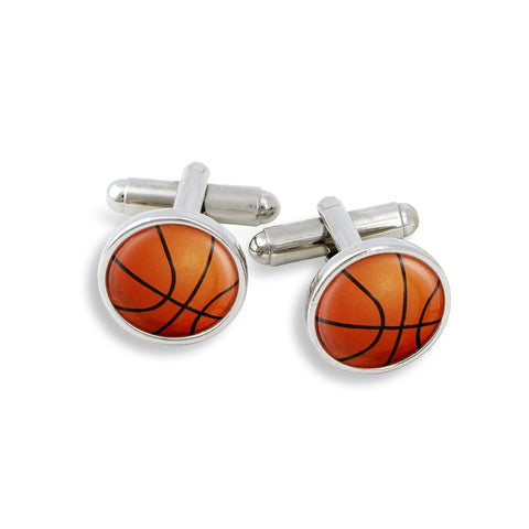SilverTone Cufflink Set featuring the Basketball