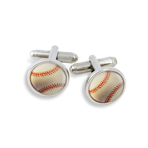 SilverTone Cufflink Set featuring the Baseball
