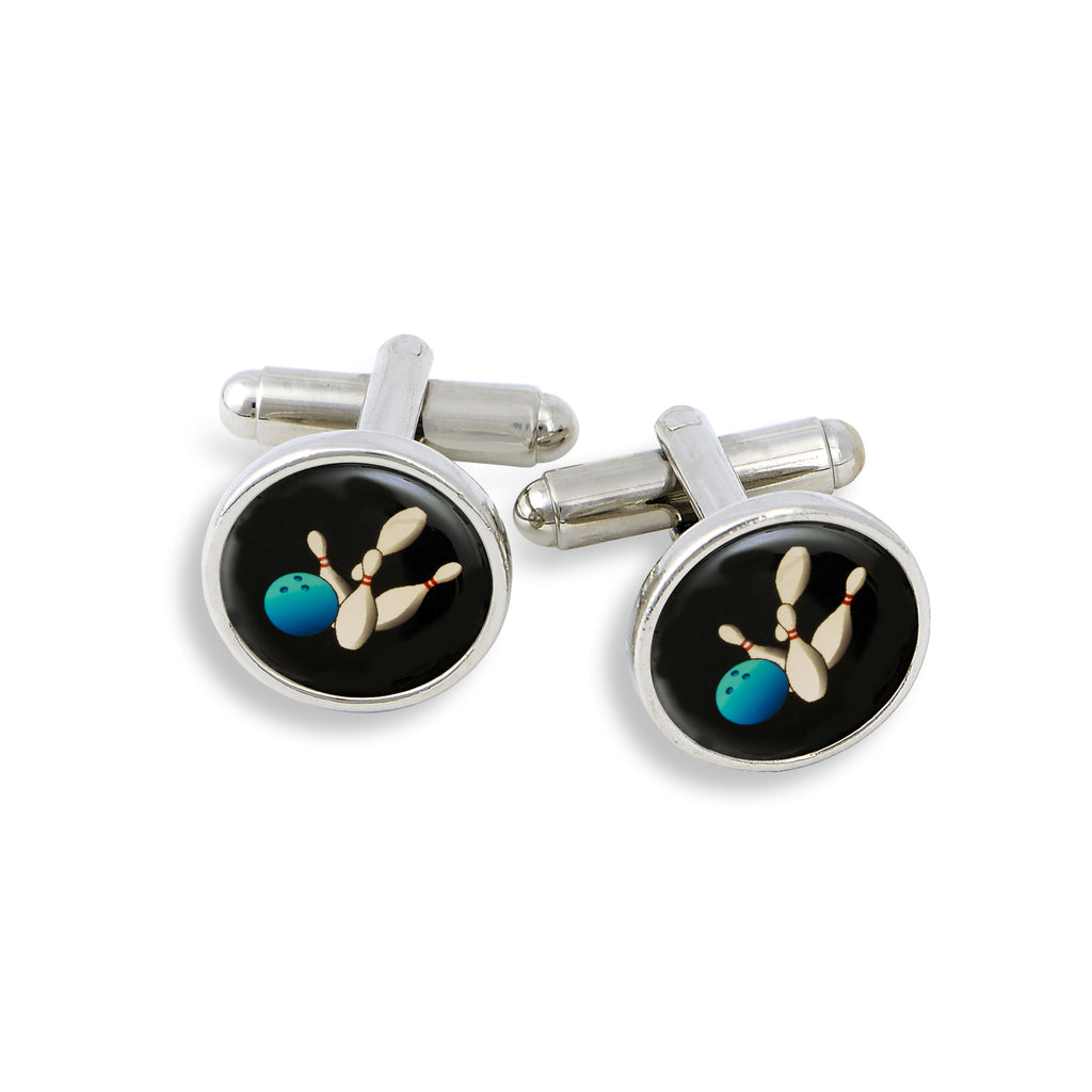 SilverTone Cufflink Set featuring the Bowling Ball and Pin