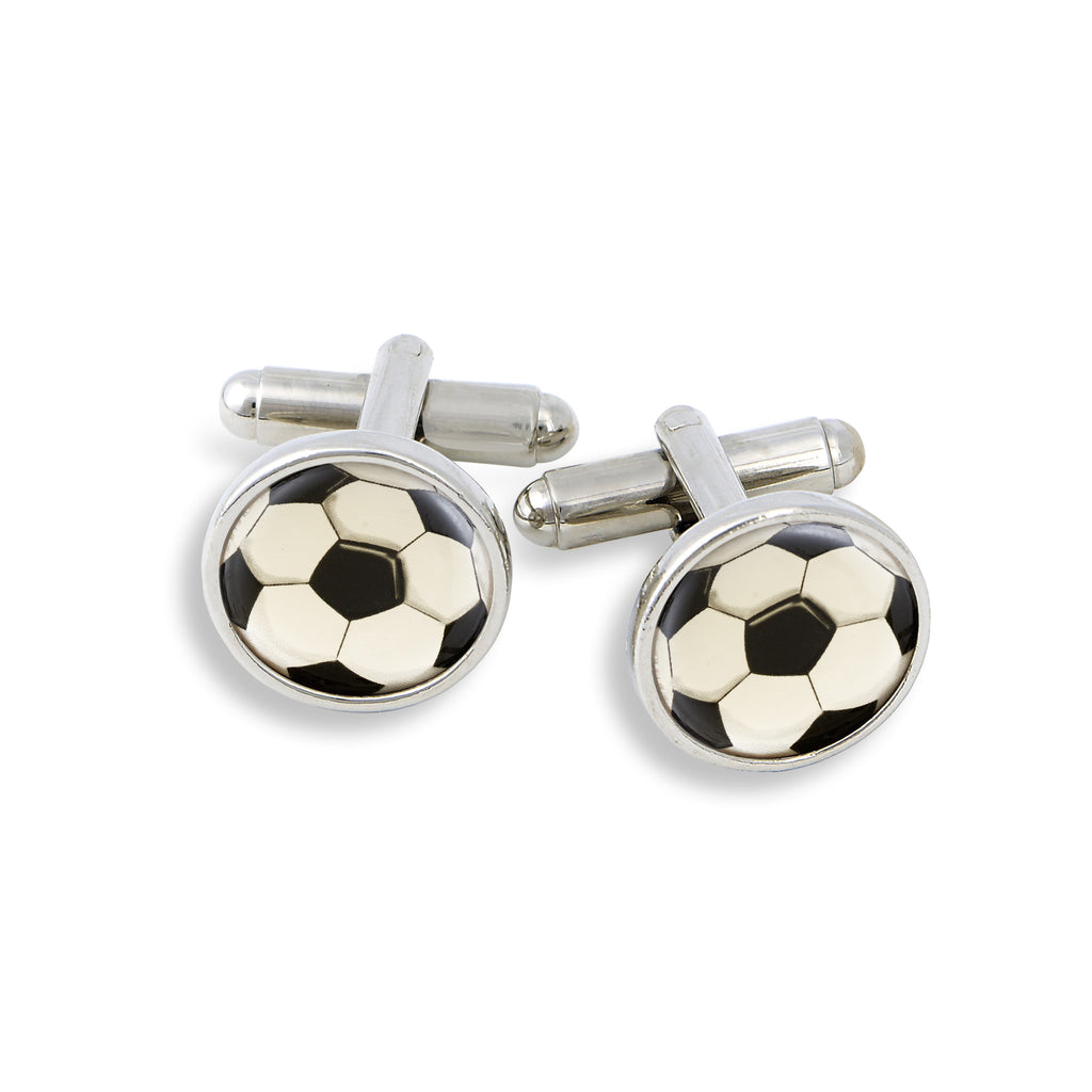 SilverTone Cufflink Set featuring the Soccer Ball