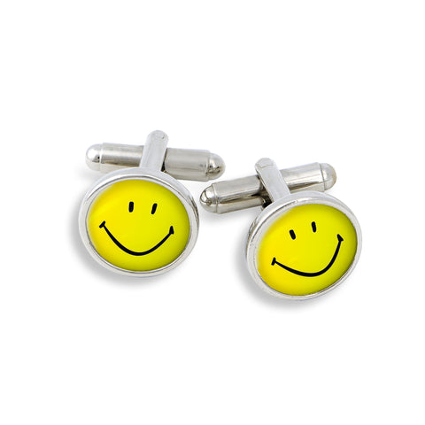 SilverTone Cufflink Set featuring the Happy Face