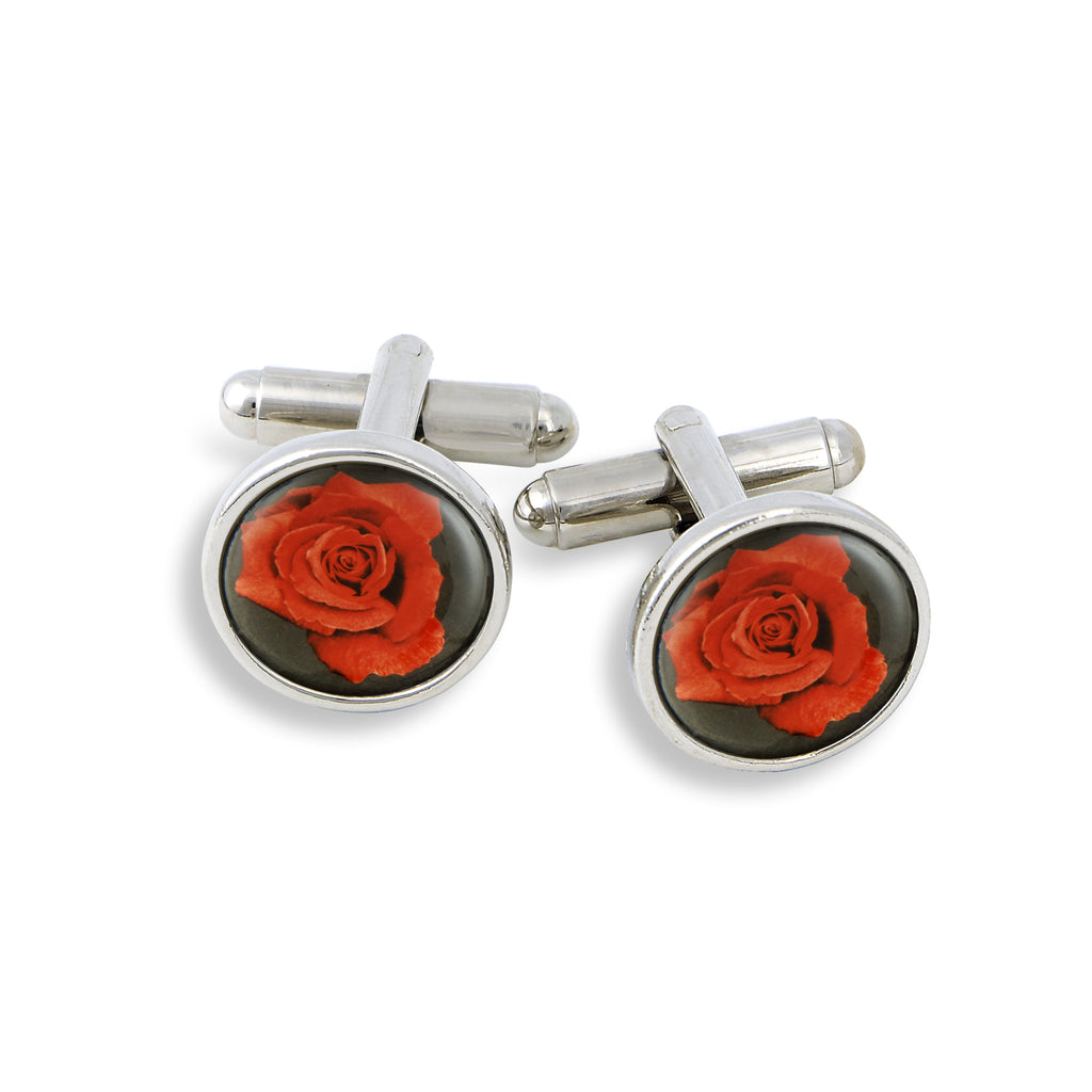 SilverTone Cufflink Set featuring the Red Rose