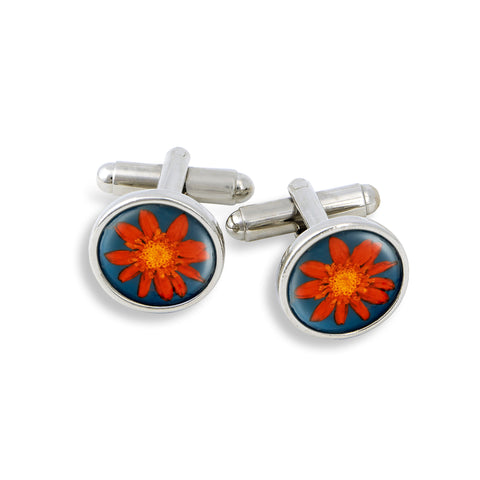SilverTone Cufflink Set featuring the Flower