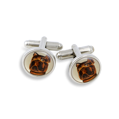 SilverTone Cufflink Set featuring the Painted Bull Dog