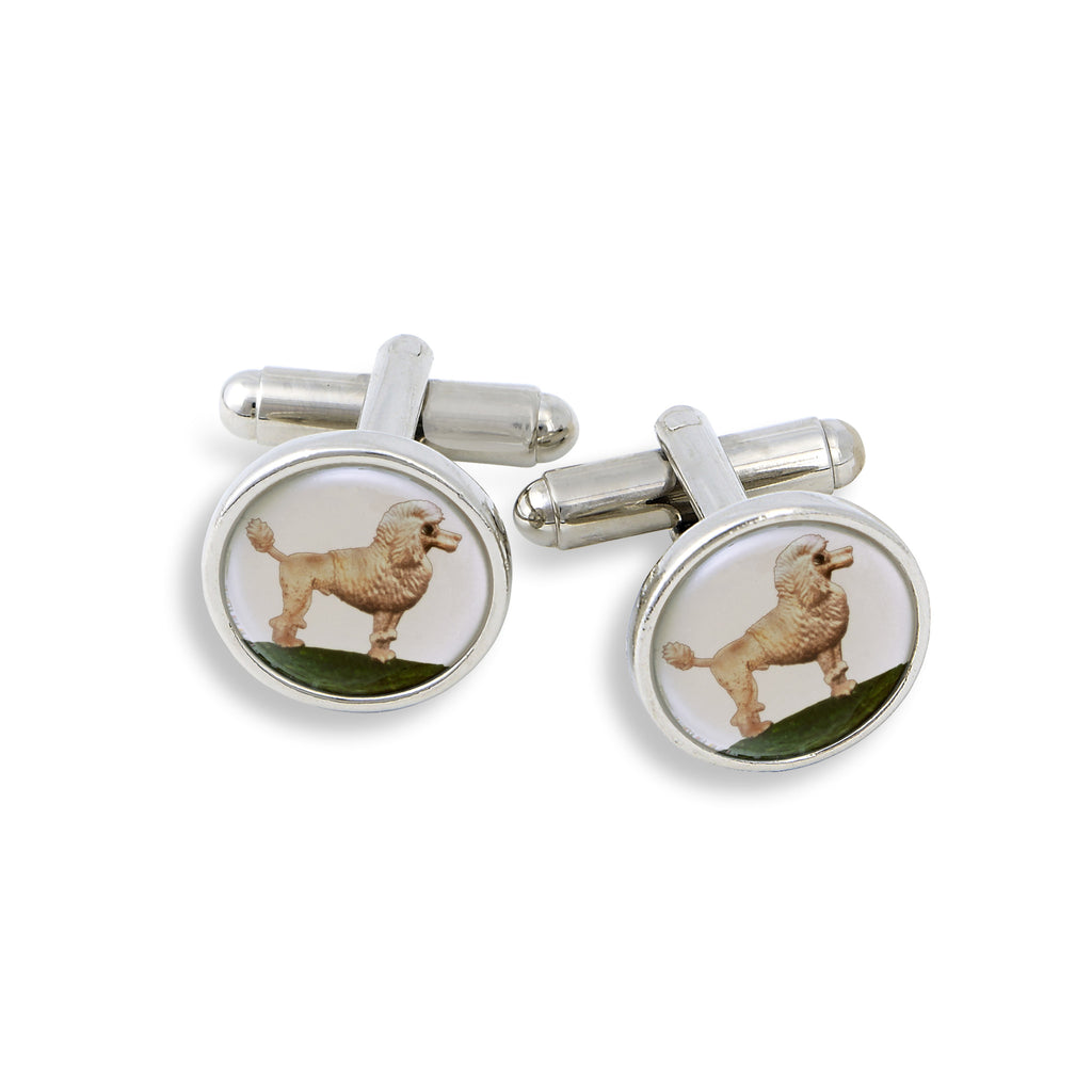 SilverTone Cufflink Set featuring the Painted Poodle