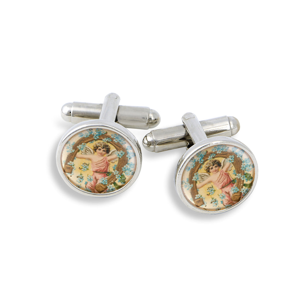 SilverTone Cufflink Set featuring Angels & Cherubs