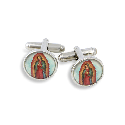 SilverTone Cufflink Set featuring Our Lady of Guadalupe